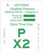 Sample green permit for disability parking